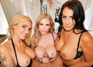 "Casca Akashova, Devon, Reagan Foxx in ""The Dressing Room 9"""